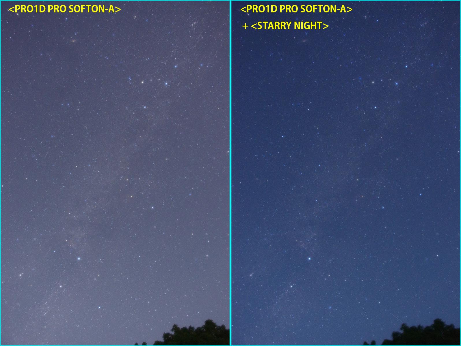 スターリーナイトフィルターの有無による比較(カメラJPEG出力)