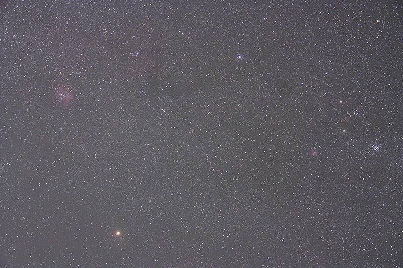 ふたご座のM35~いっかくじゅう座のバラ星雲付近(kissX2改・タムロンA16・50mm F4.0・SO800, 240sec.)