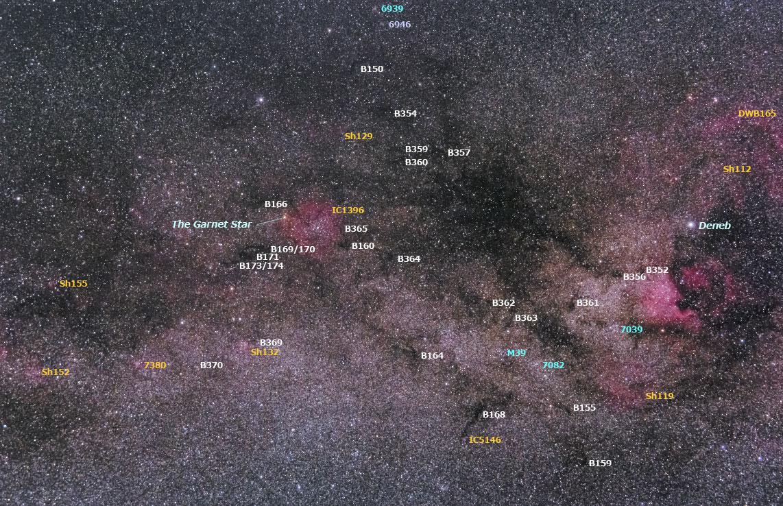 はくちょう座~ケフェウス座の星野 (星雲番号入り)
