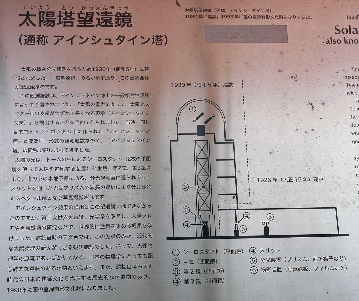 太陽塔望遠鏡(アインシュタイン塔)の説明