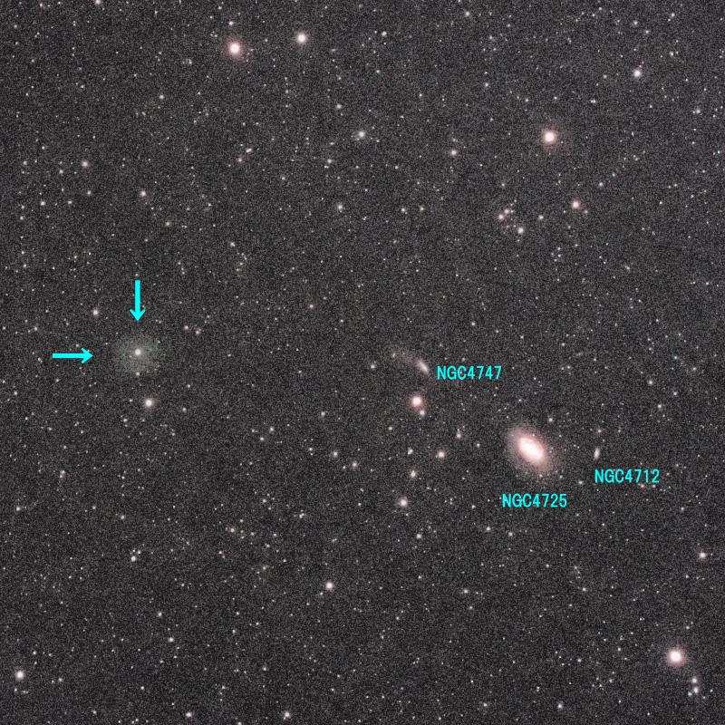 【極端な強調処理】かみのけ座の惑星状星雲 LoTr 5 ( Longmore-Tritton 5 )と系外銀河NGC4725