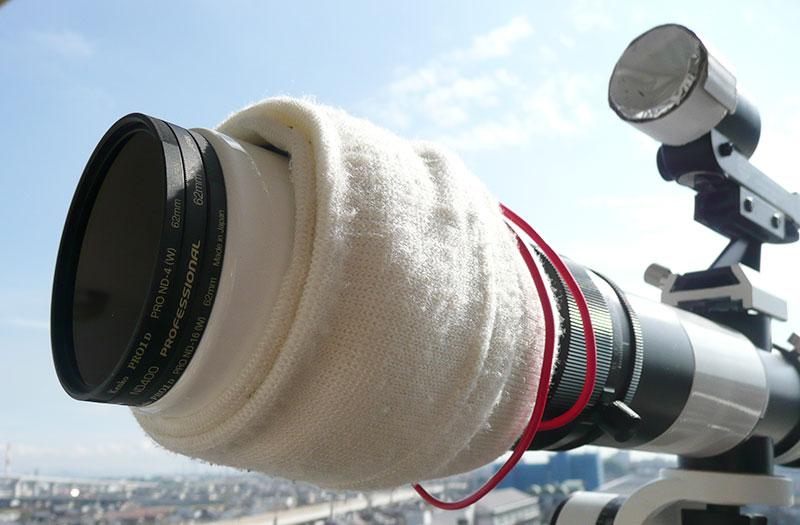 太陽撮影のための減光(NDフィルター3枚重ね)