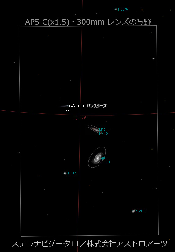 2020/5/23 22:00 パンスターズ彗星(C/2017 T2)とM81・M82の接近