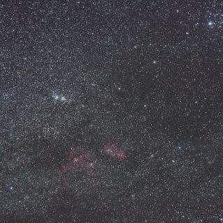二重星団(h・χ)付近の星野