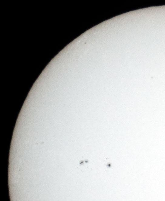 2011/3/26 10:01の太陽面(ピクセル等倍)