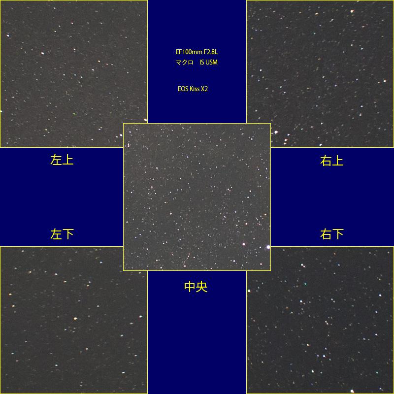 EF100mm F2.8L マクロ IS USMの星像(APS-C・開放)