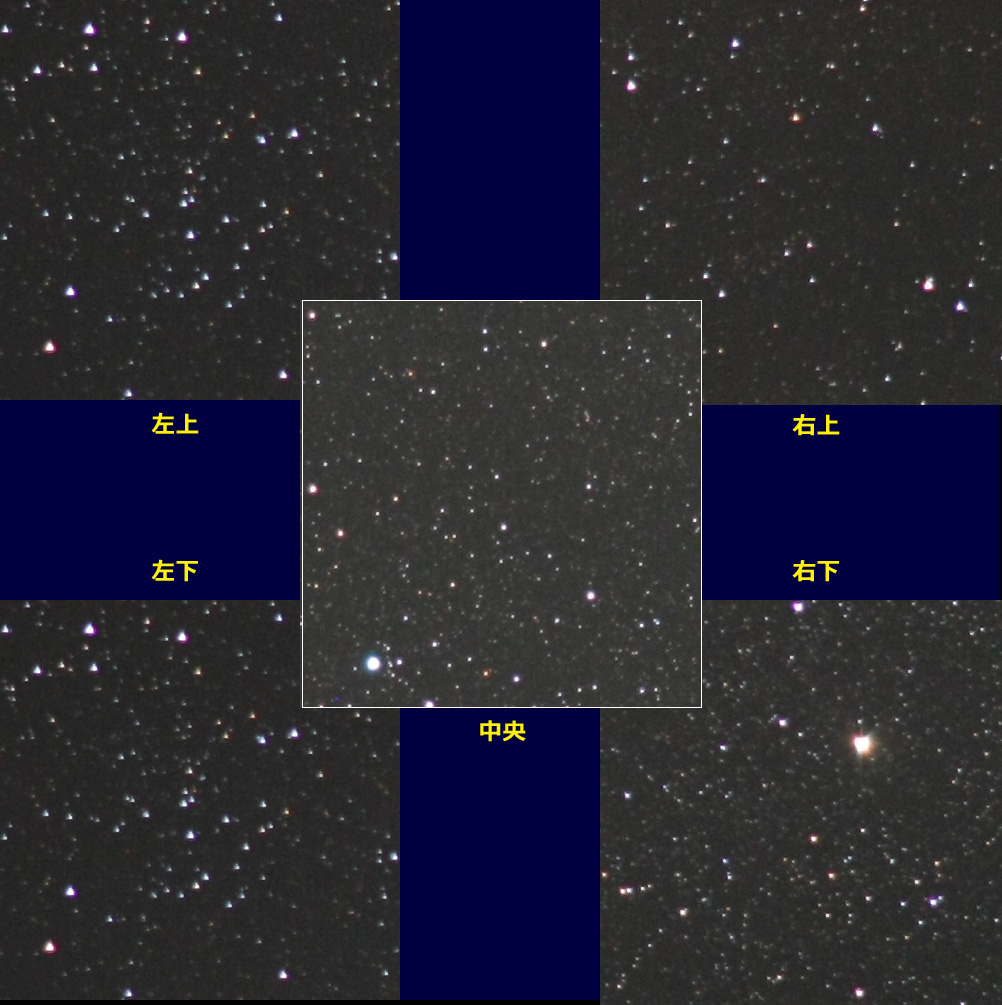 F2.8開放でのピクセル等倍星像