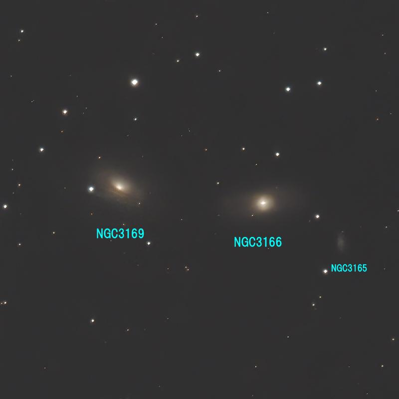 ろくぶんぎ座の系外銀河(番号入り)