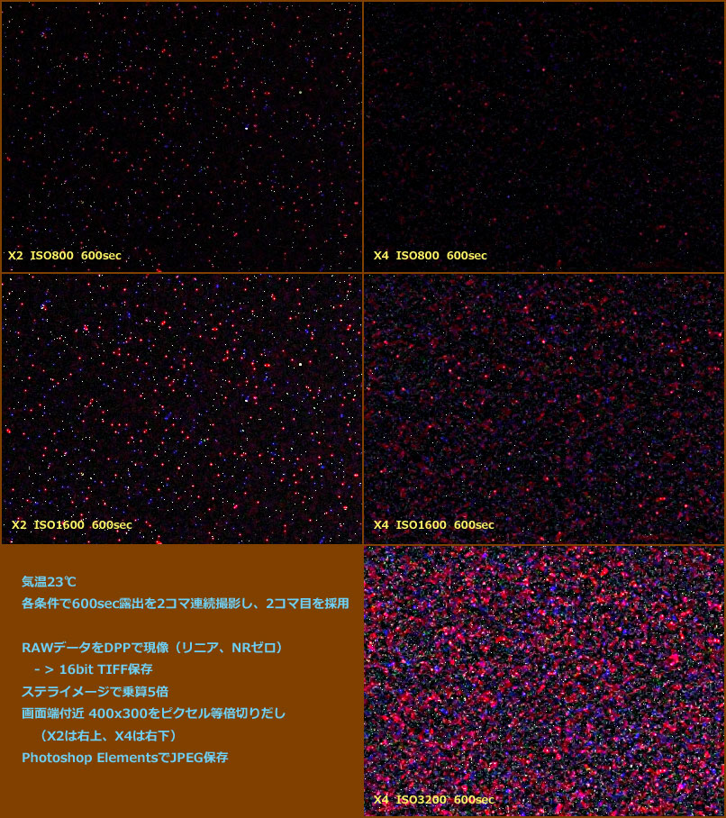 kiss X2とX4のダークノイズ比較(ノイズが多い部分・ピクセル等倍)