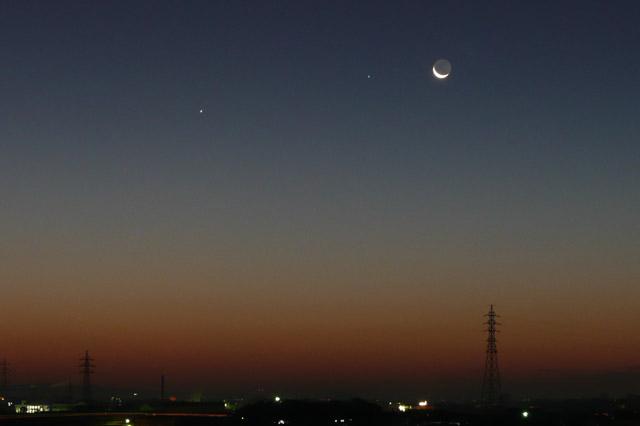 2007/11/08 明け方の水星、スピカと月