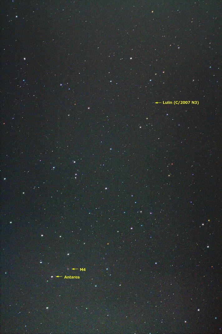 ルーリン彗星(C/2007 N3)・2009/1/24 5:42・てんびん座を通過中・光度6.9等