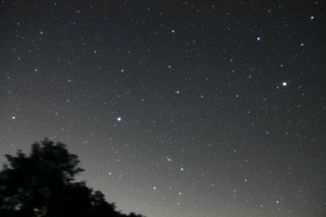 おとめ座、からす座付近。右側の一番明るい星は土星