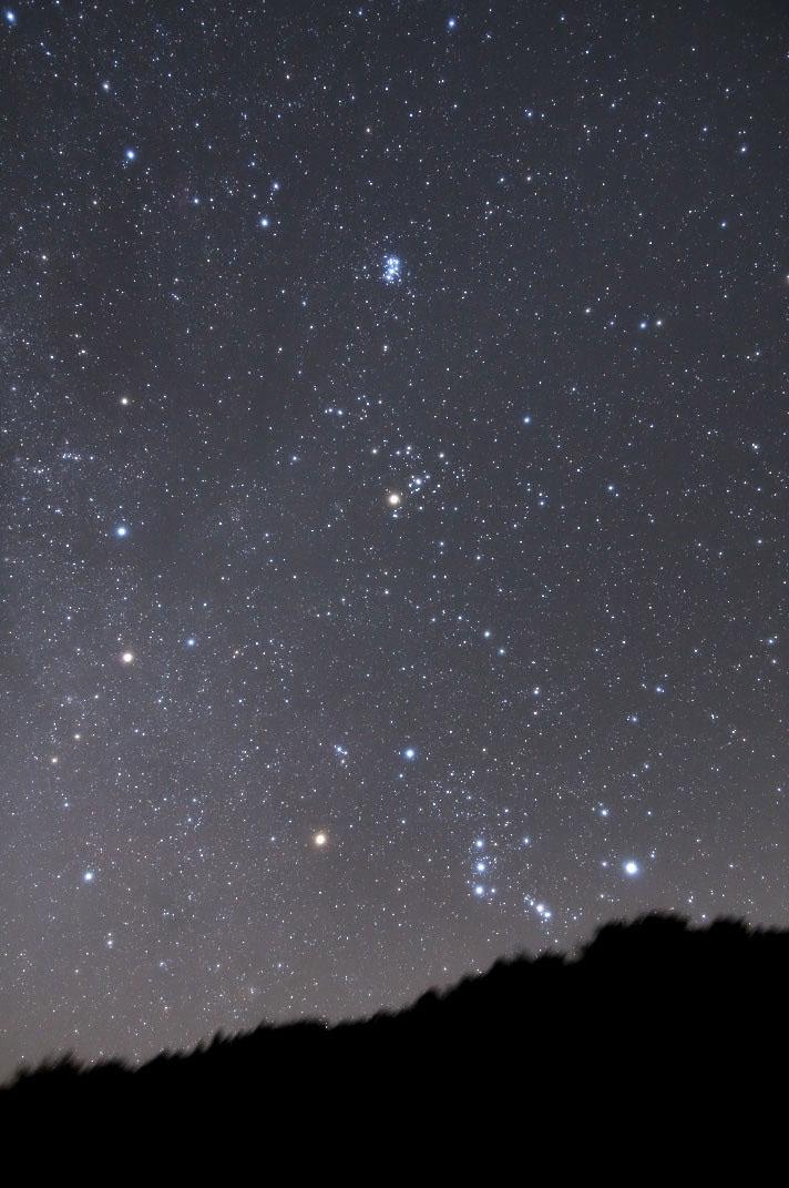 東の空から昇る冬の星座(おうし座~オリオン座)