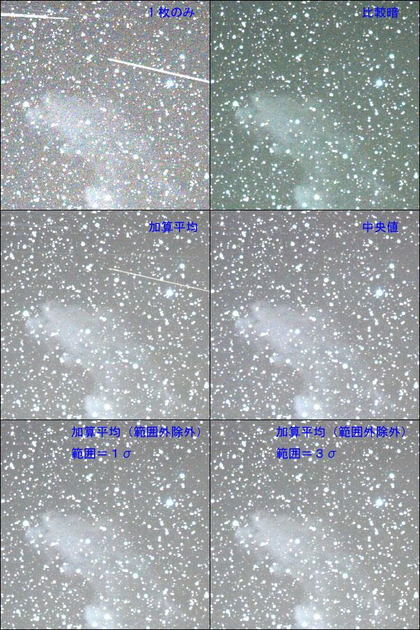 人工衛星光跡の除去