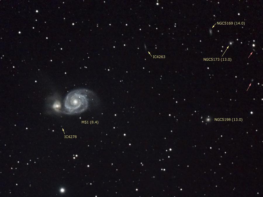 M51(子持ち銀河)と周辺の銀河(番号入り)