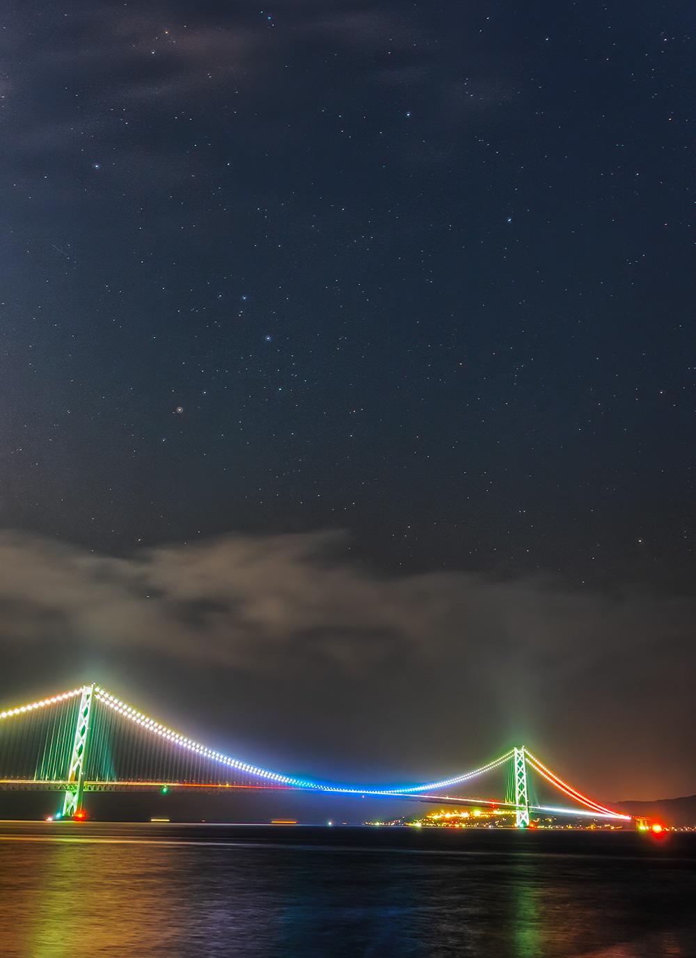 明石海峡大橋とさそり座頭部