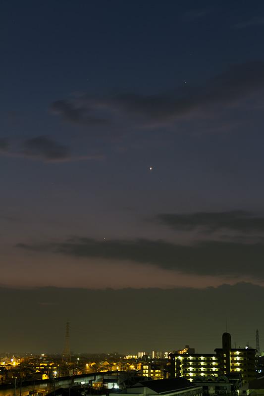 最大離角1日前の水星と金・土