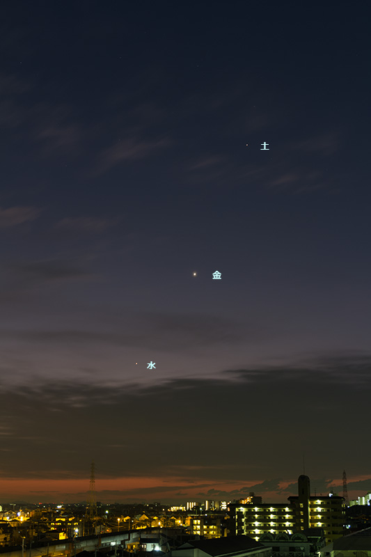 西方最大離角の水星(+金星・土星)