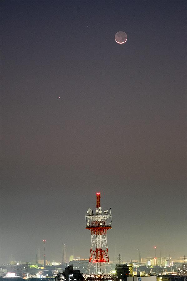 月齢1.5の月と水星