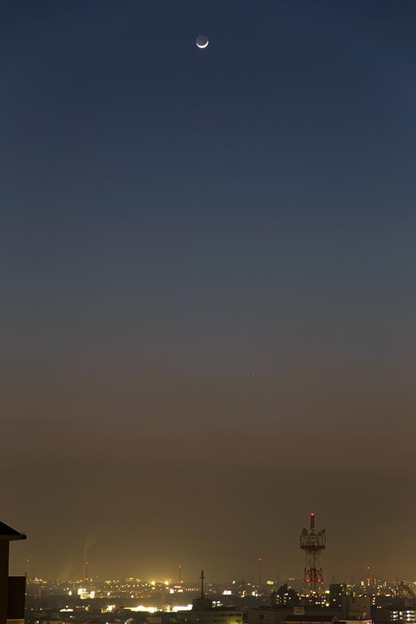 月齢2.5の月と水星