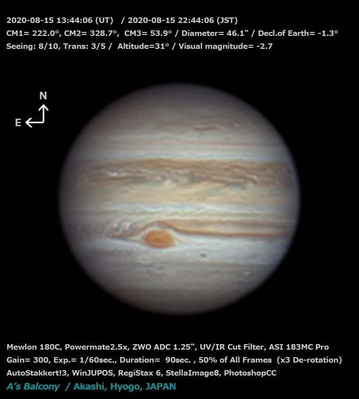 木星 2020/8/15 22:44 (JST)