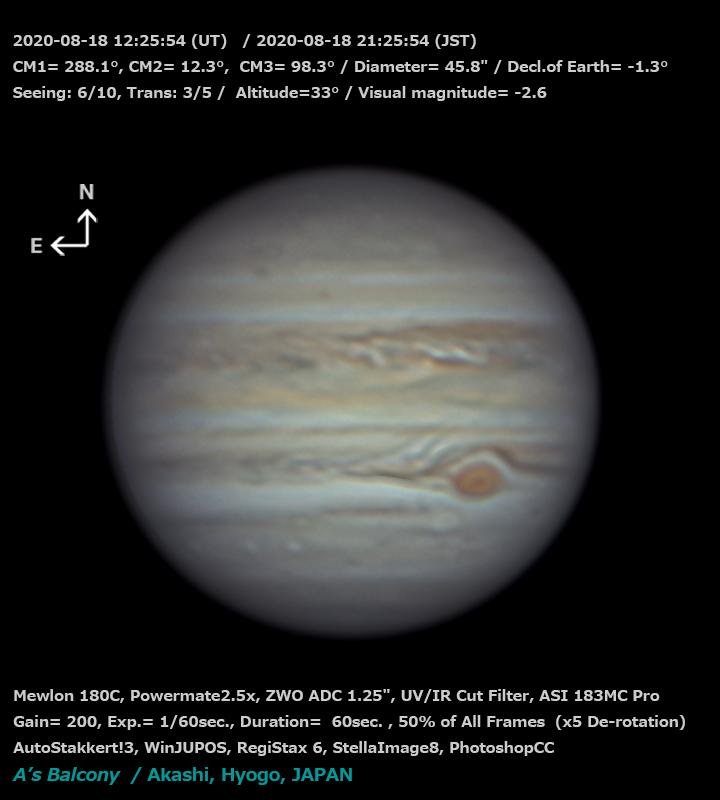 木星 2020/8/18 21:25