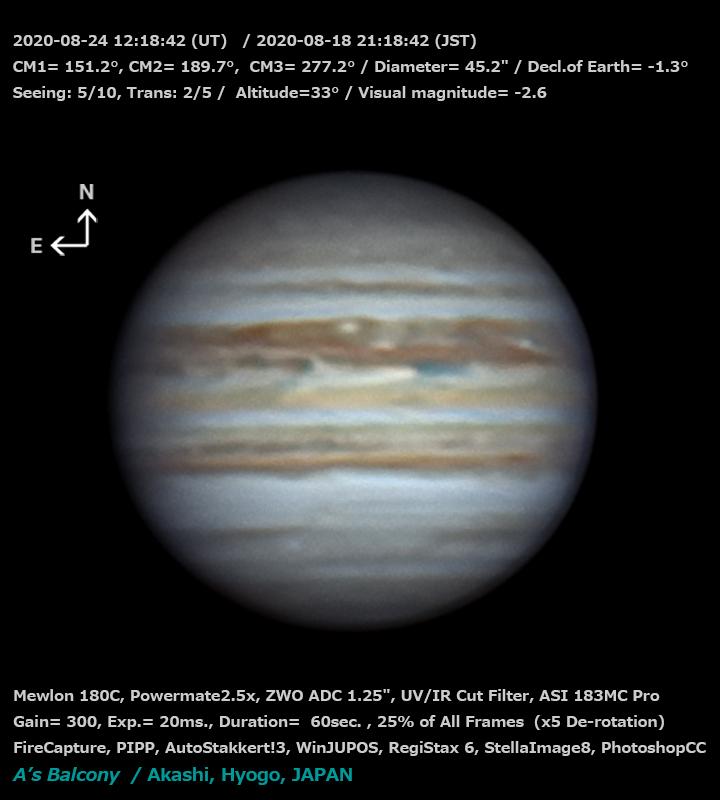 木星 2020/8/24 21:18 (JST)
