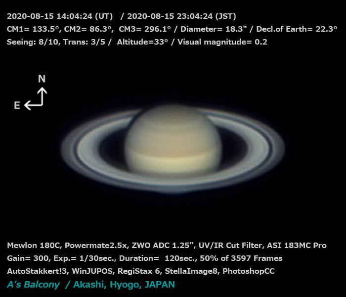 土星 2020/8/15 23:04 (JST)