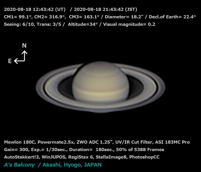 土星 2020/8/18 21:42 (JST)