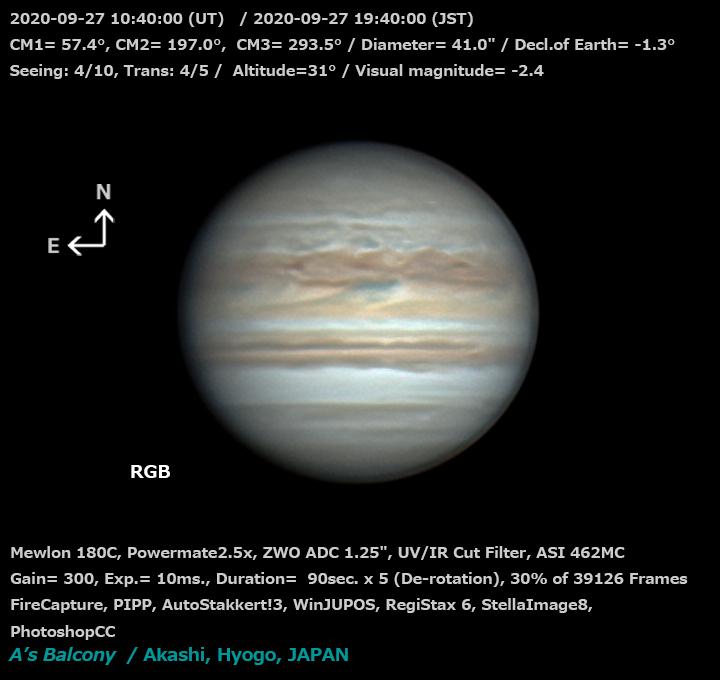 木星 2020/9/27 19:40 (JST)
