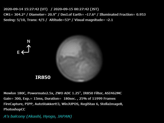 火星 2020/9/15 00:27 (JST) - IR850