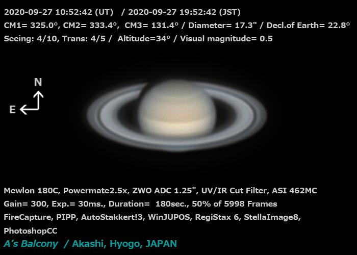 土星 2020/9/27 19:52 (JST)