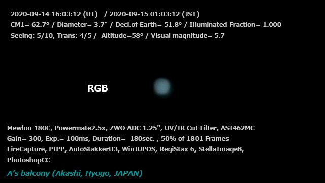 天王星 2020/9/15 01:03 (JST) - RGB