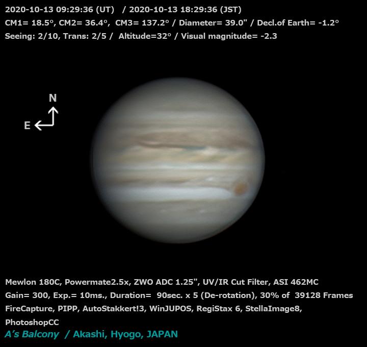 木星 2020/10/13 18:29 (JST)
