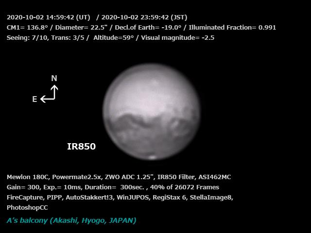 火星 2020/10/3 00:08 (JST) IR850
