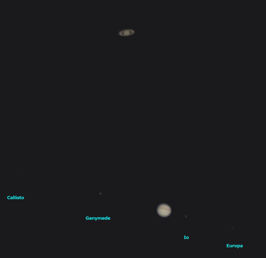 木星と土星の接近 2020/12/21 17:44 (JST)