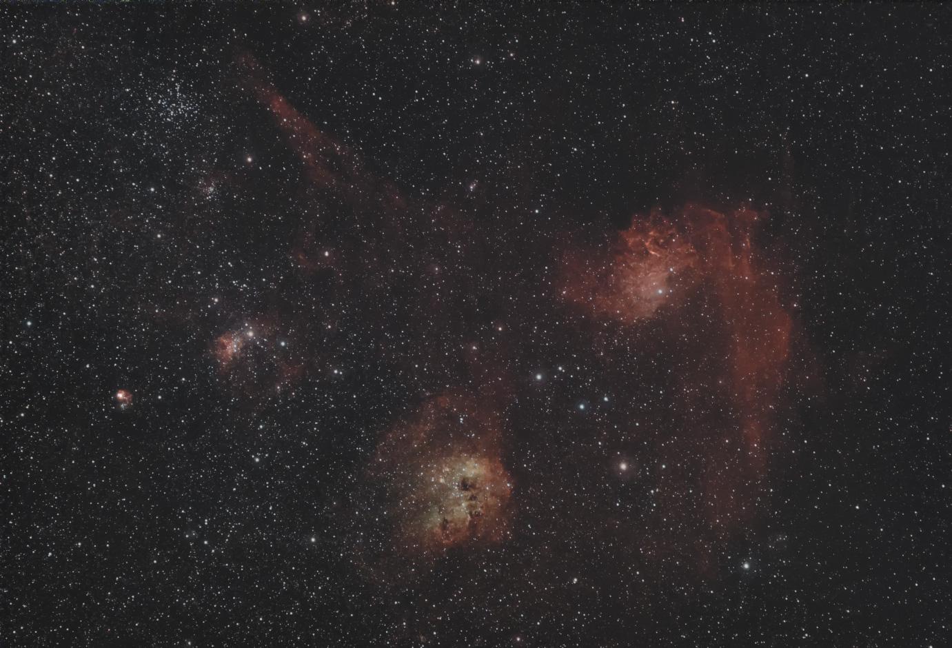 M38・勾玉星雲付近