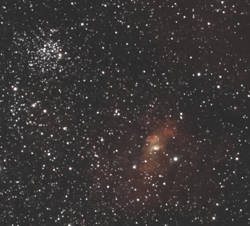 M52とバブル星雲(ピクセル等倍)