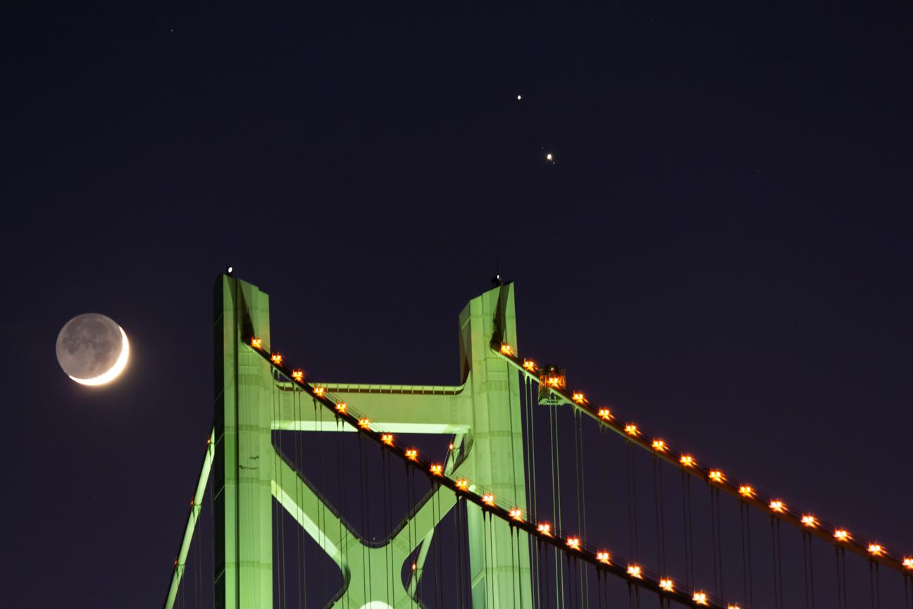 木星・土星・月・明石海峡大橋