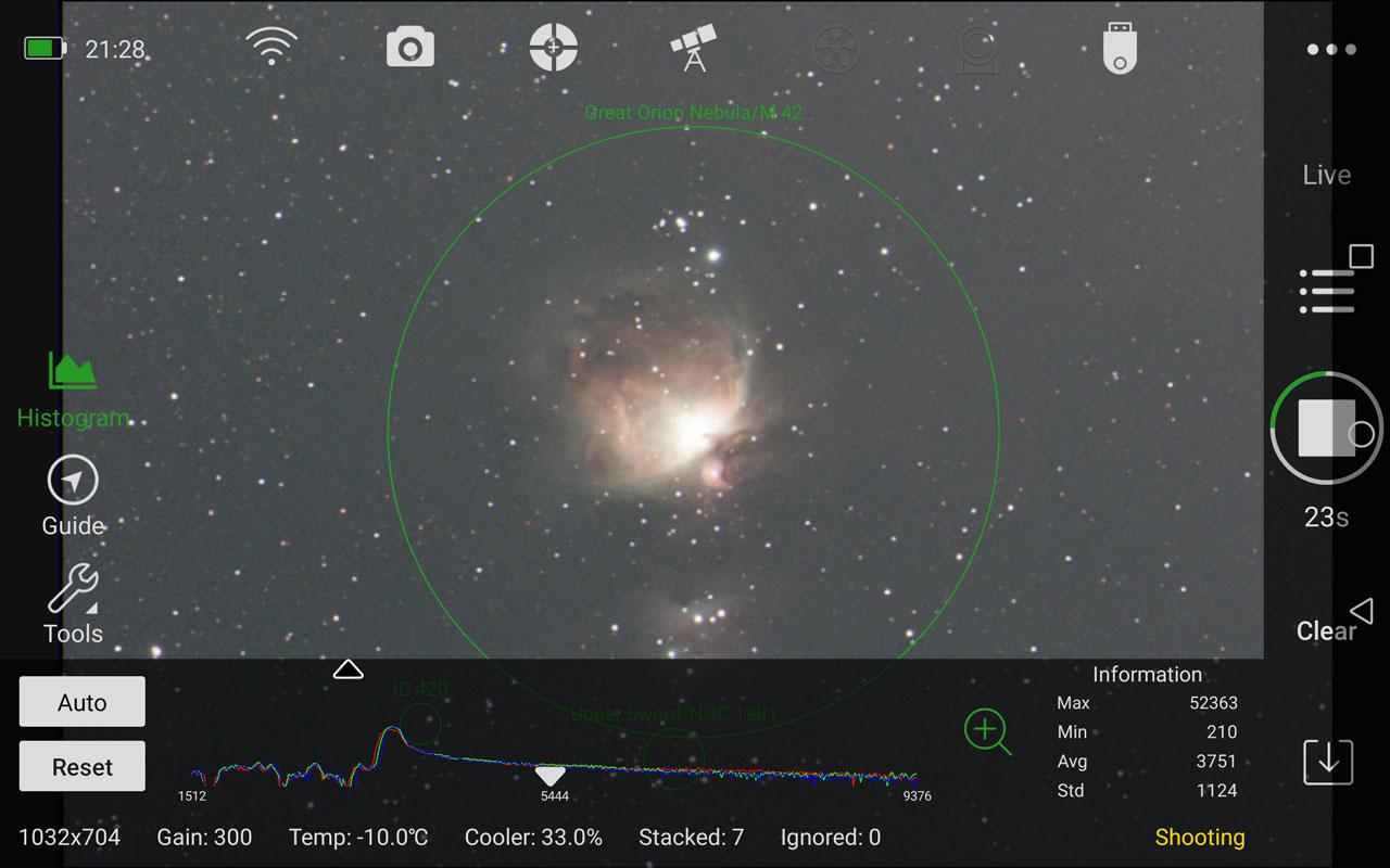 M42 オリオン大星雲 (30秒✕スタック数7・倒立)