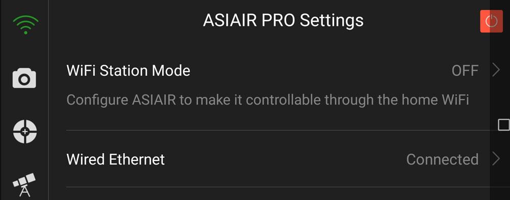 ASIAIRアプリ・有線LAN接続の設定
