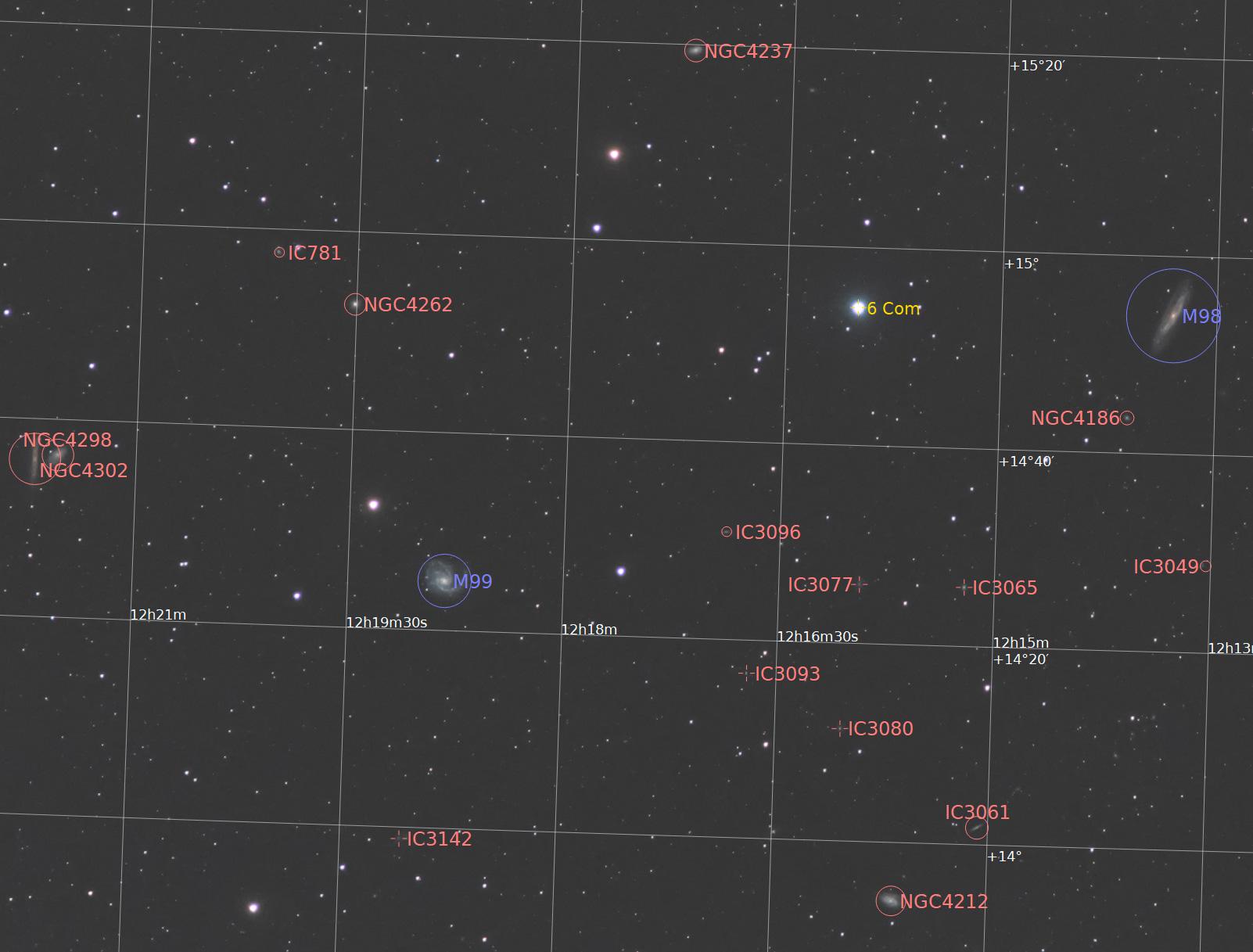 かみのけ座 M98・M99付近の系外銀河
