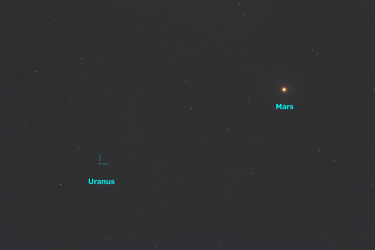 火星と天王星の接近・2021/1/17 19:28