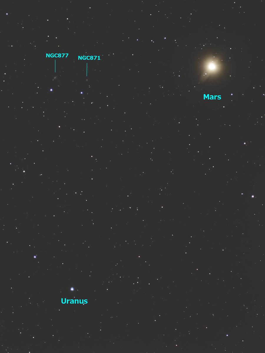 2021/1/20 火星と天王星の最接近・NGC877&871