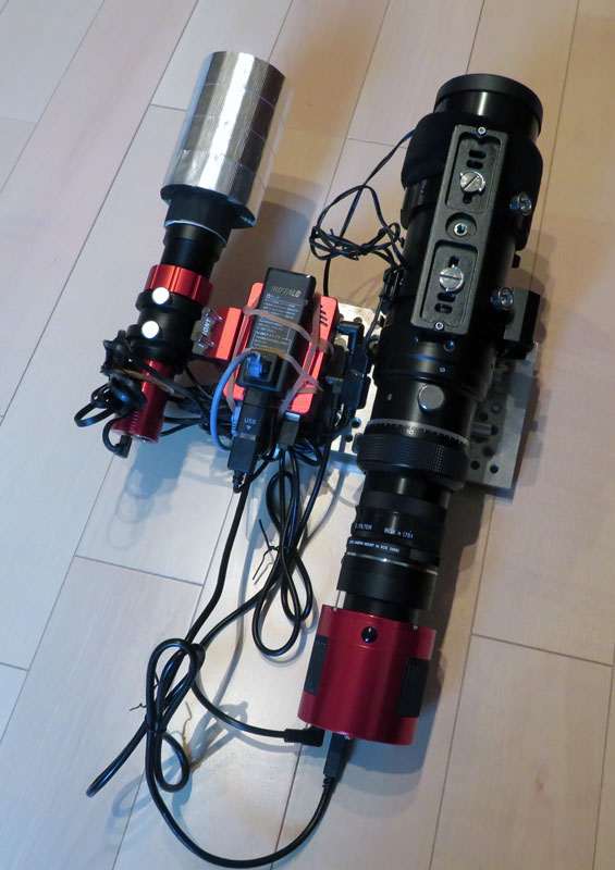 ASIAIR PROとガイド鏡、撮影鏡筒を横並びで配置