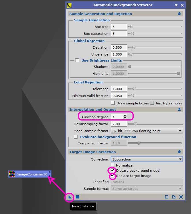 DBE処理済みLight画像(コンテナ化)を更にABEで光害カブリ補正