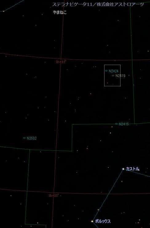 やまねこ座の球状星団NGC2419の位置
