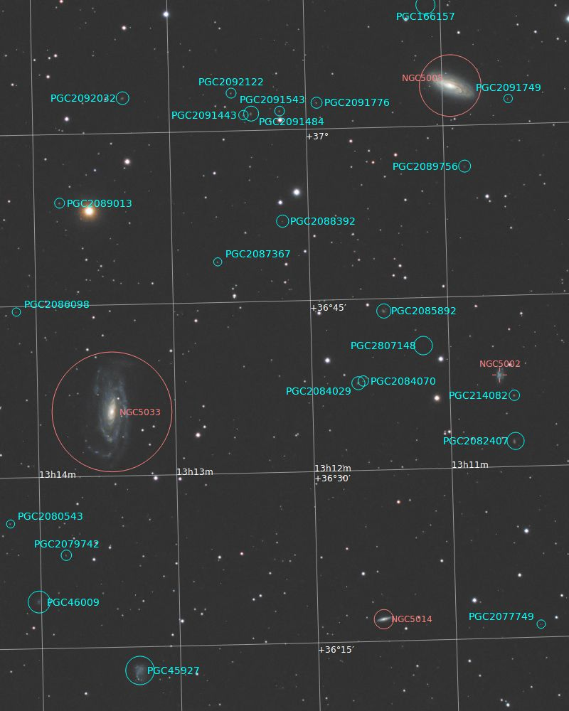 NGC5005, NGC5033, and some other small galaxies (annotated)