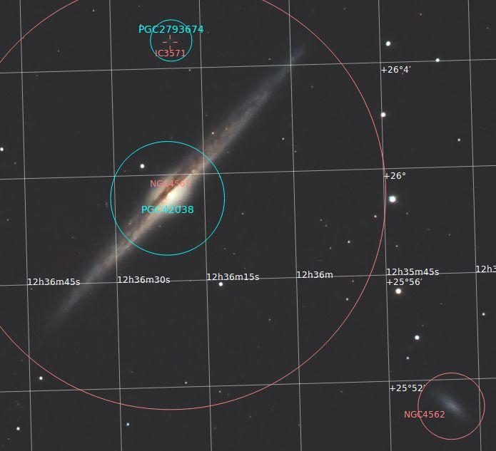 NGC4565, NGC4562, IC3571 (Annotated)