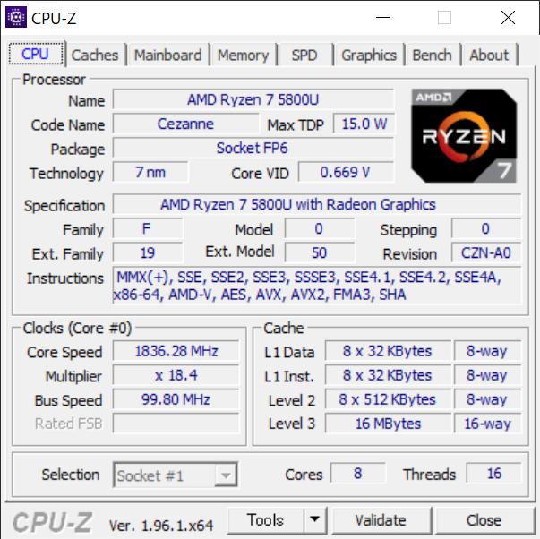 HP Pavilion Aero 13 / CPU-Z(CPU)